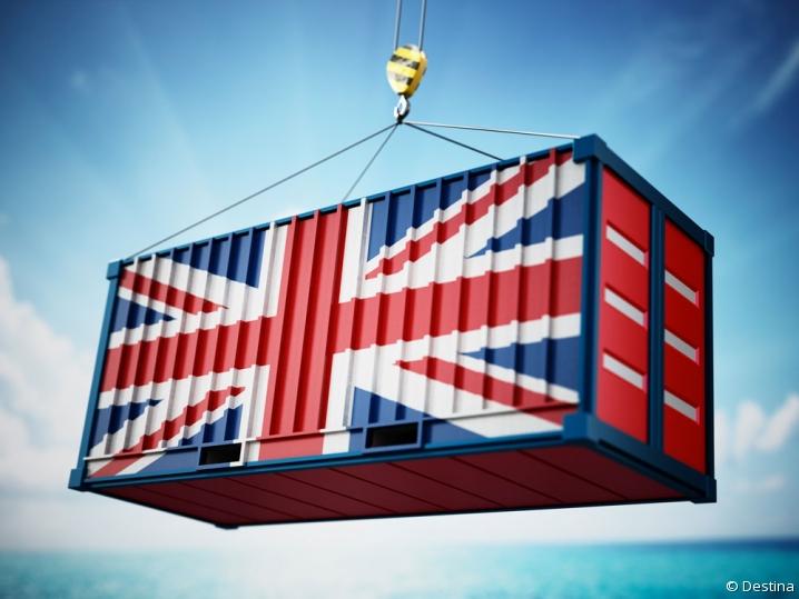 Container estampillé du drapeau du Royaume-Uni