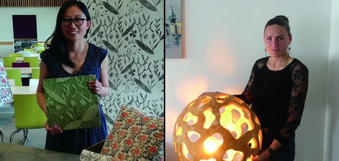 À gauche, Madame Lu Yu, dominotière. À droite, Madame Christelle Porte, cougourdonnière.