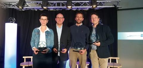 De gauche à droite: Céline Bris, Christophe Bérard, Pierre Carette et Étienne Rousseau, les lauréats charentais-maritime Stars & Métiers 2019.